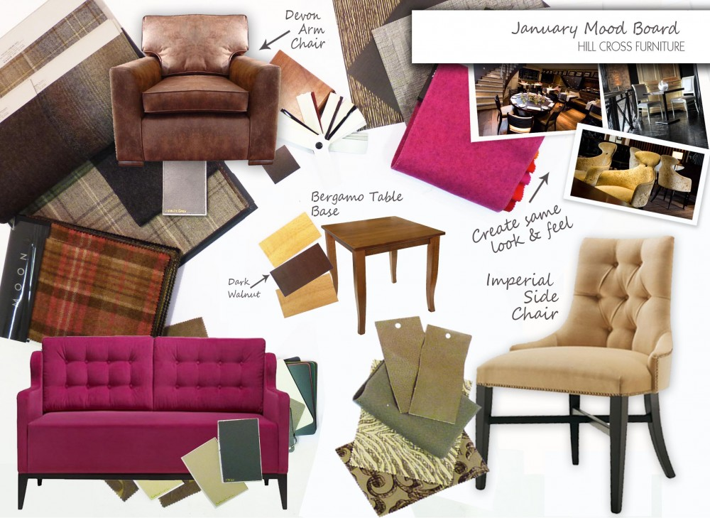 January Mood board for hospitality interior design from Hill Cross