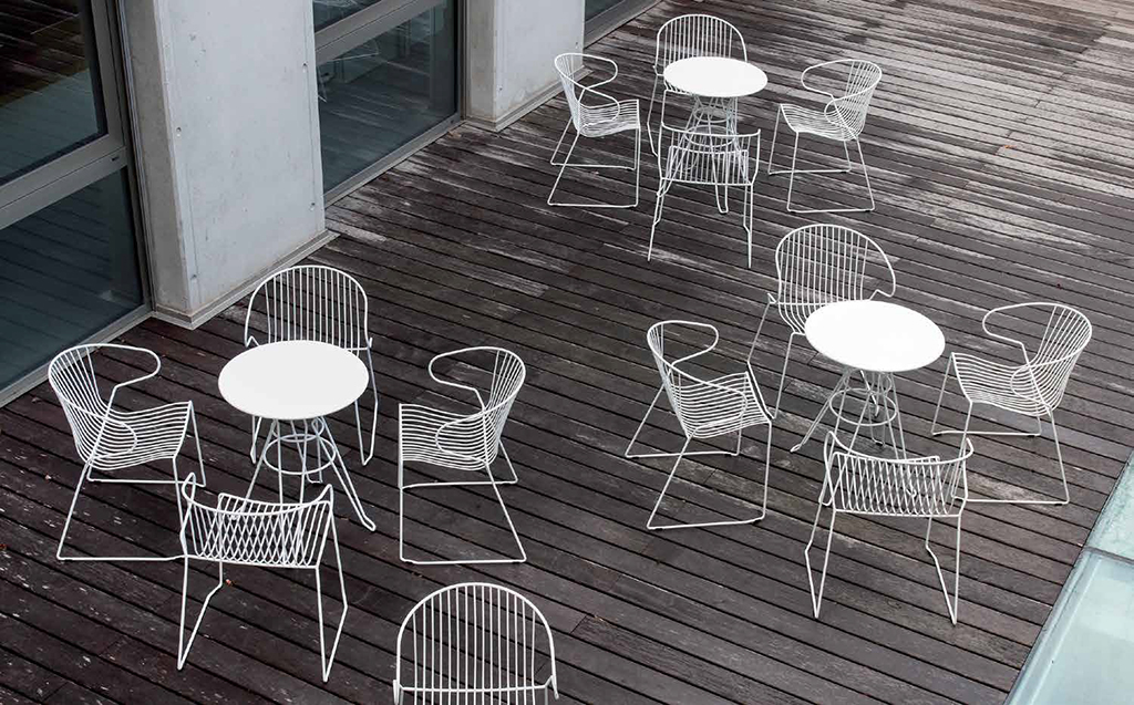 Metal Bistro Tables and Chairs on Decking