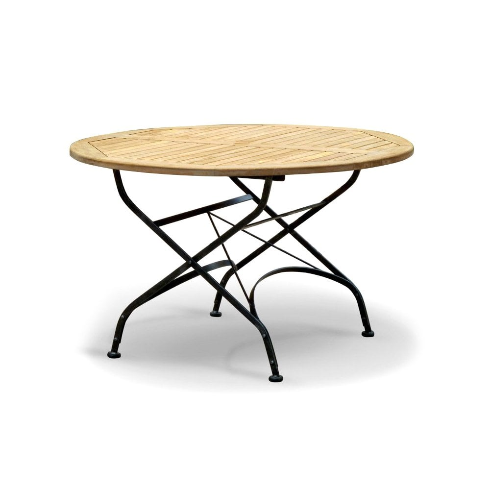 Terrace Teak Folding Table Round Outdoor From Hill Cross Furniture Uk