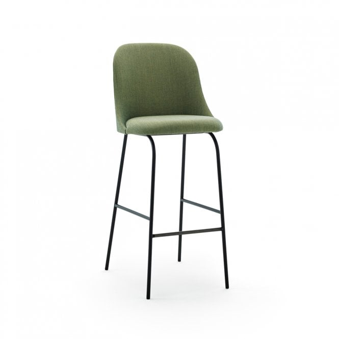 Aleta Metal Base High Back Bar Stool