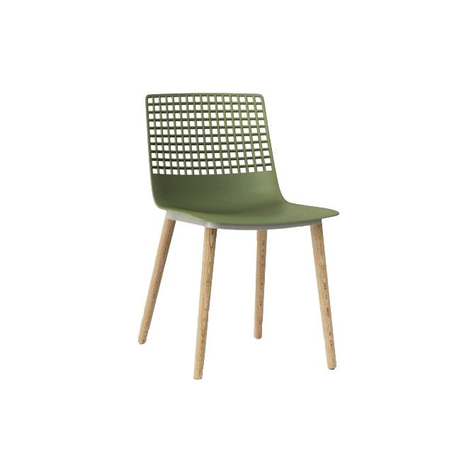 Wire Wood Side Chair