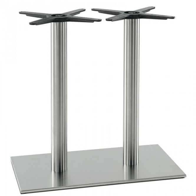 Inox Oblong (RC) Twin D4 table base - Brushed S/S