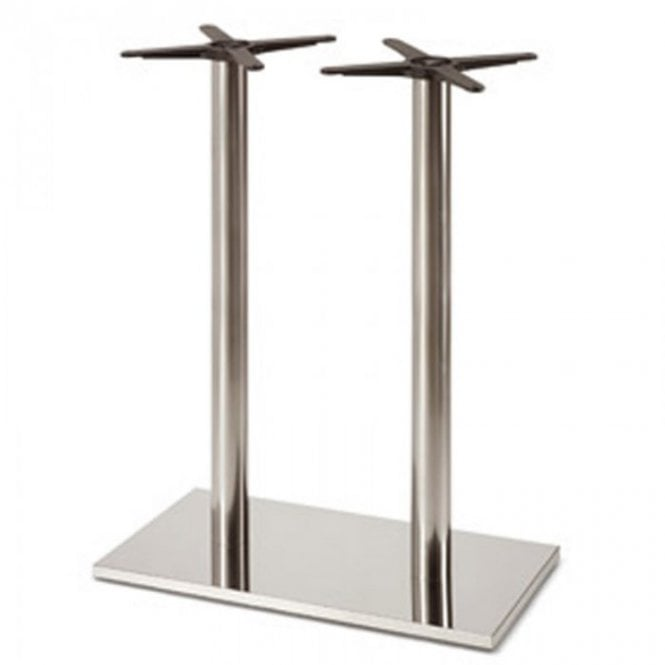 Inox Oblong (RC) Twin P2 table base - Brushed S/S