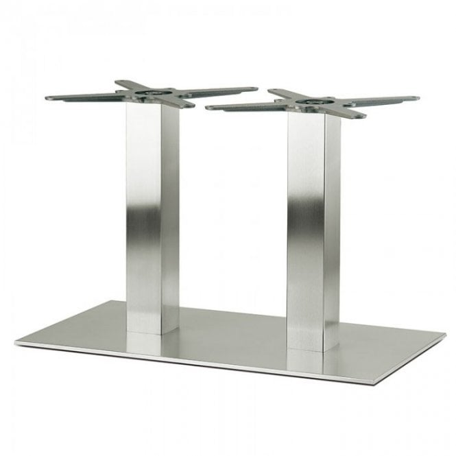 Inox Oblong Twin C4 table base - Brushed S/S