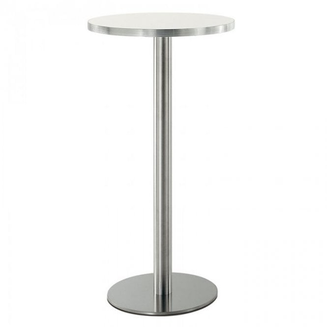 Hugo Round P1 table base - Brushed S/S