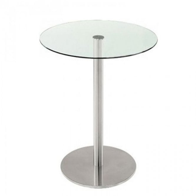 Hugo Round P3 table base - Brushed S/S