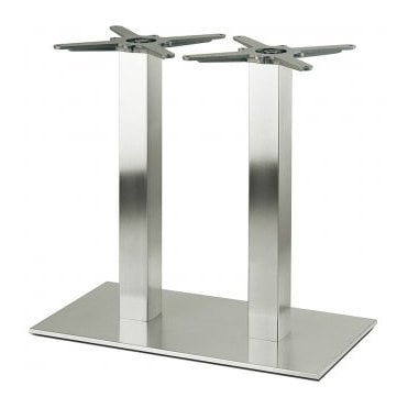 Hugo Square Twin D6 table base - Brushed S/S